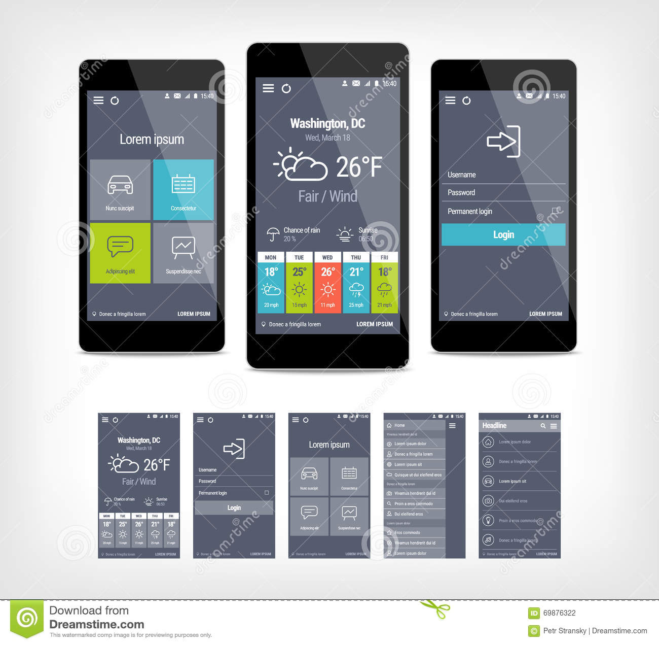 Möbel Modern Design Vector Mobile App Ui Set Of Modern Design Stock Vector