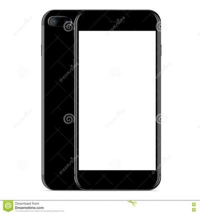 Vector, Mockup Phone Front And Side View Black Color On White Stock Vector - Image: 77836358