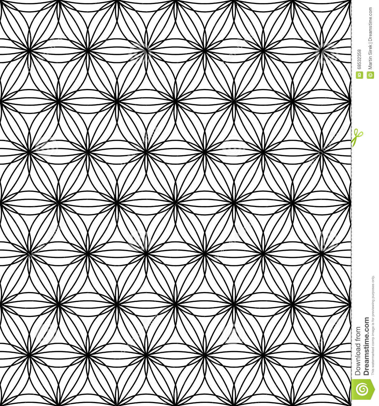Vector Modern Seamless Sacred Geometry Pattern Flower Of Life, Black And White Abstract Stock Vector - Illustration of circle, print: 68532358