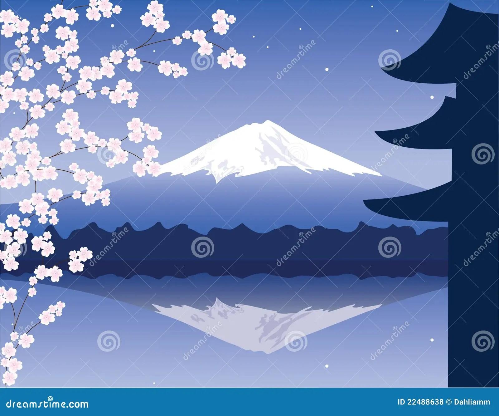 Black And Pink Flower Wallpaper Vector Mount Fuji And Sakura Stock Vector Image 22488638