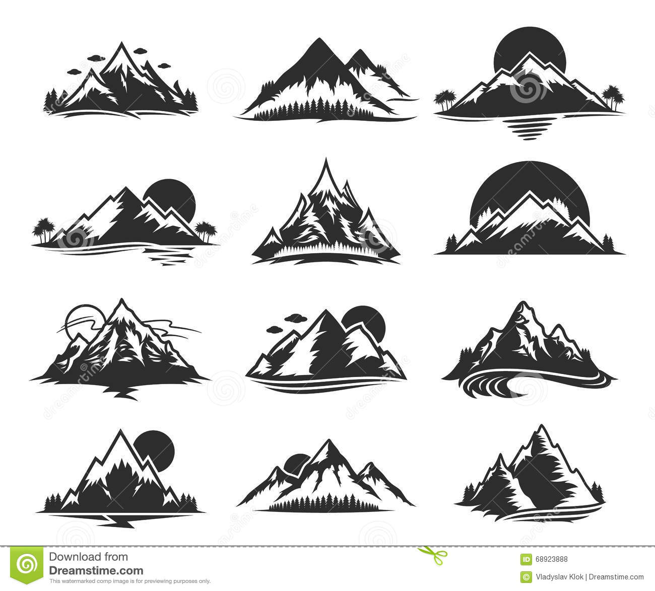 Camping Vector Icons Set Eps 10 Stock Auto Electrical 250ex Wiring Diagram Mountains Isolated On White