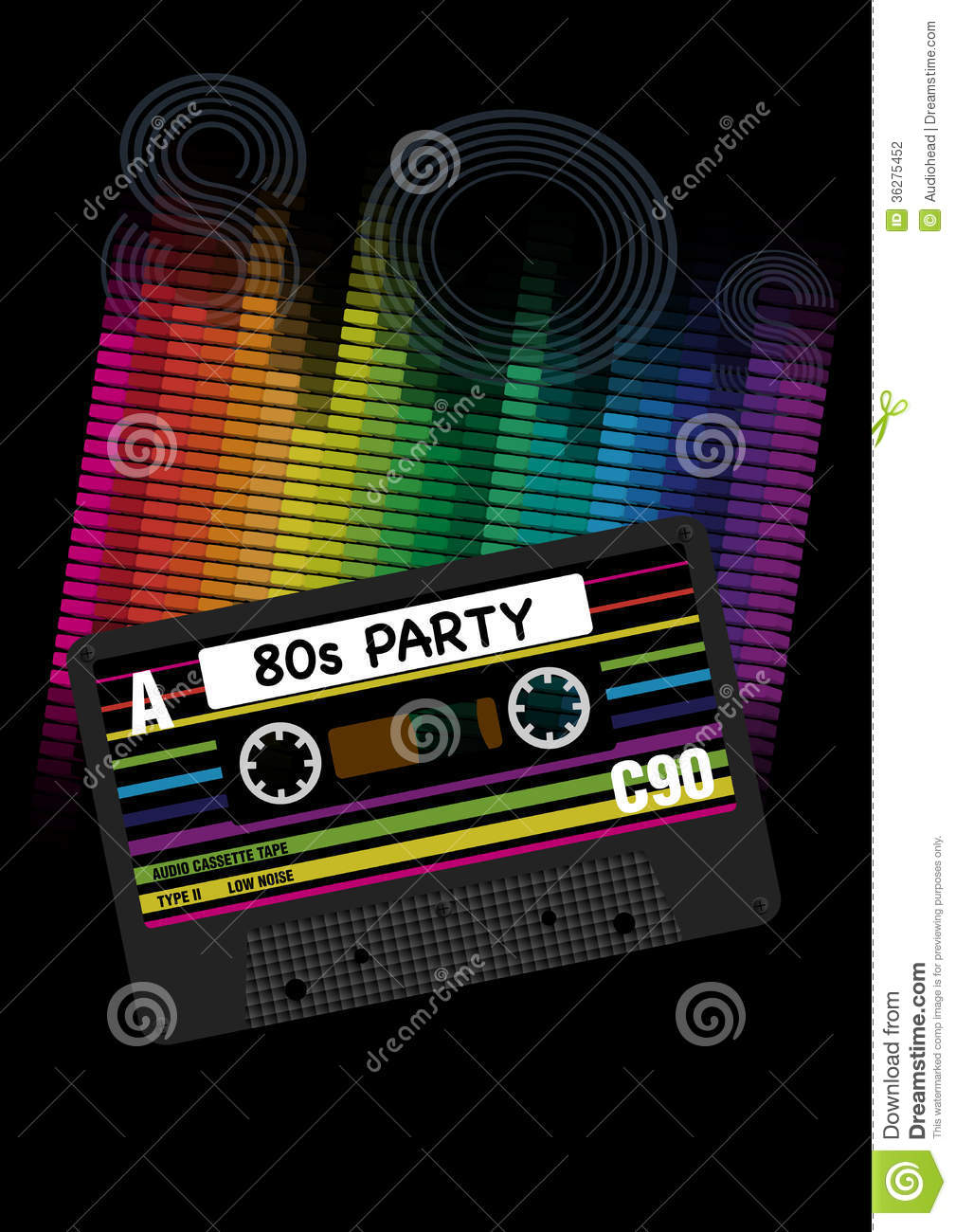 3d Vinyl Records Wallpaper Vector 80s Party Background Stock Photography Image