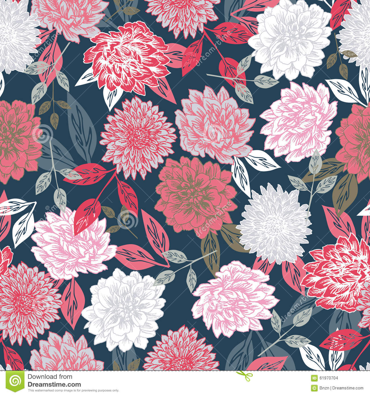 Victorian Wallpaper Black Vector Seamless Floral Print Background Stock Photo