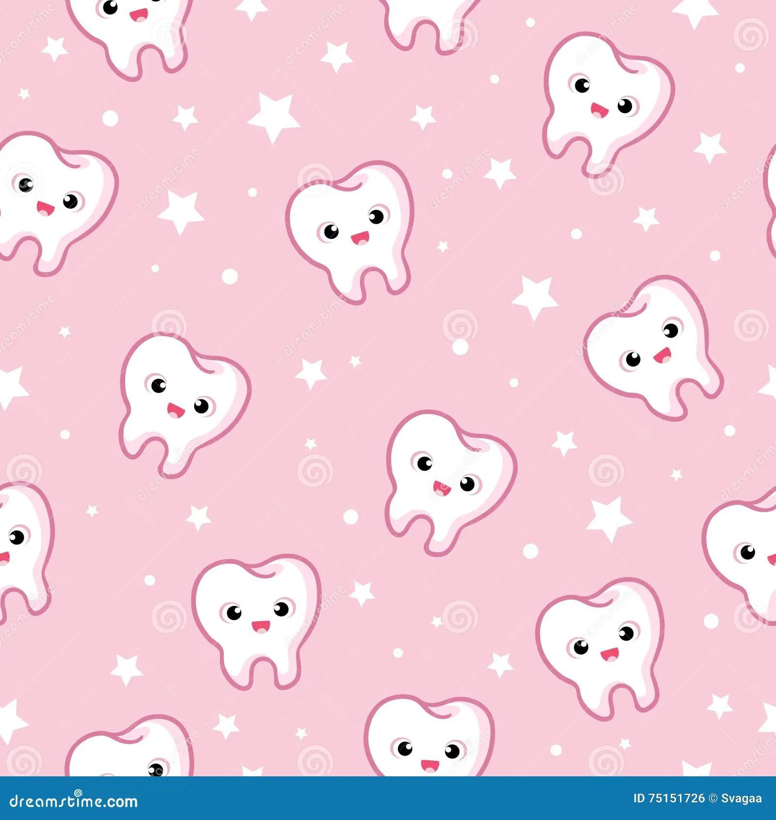 Cute Dental Wallpaper Vector Seamless Illustration With Teeth Stock