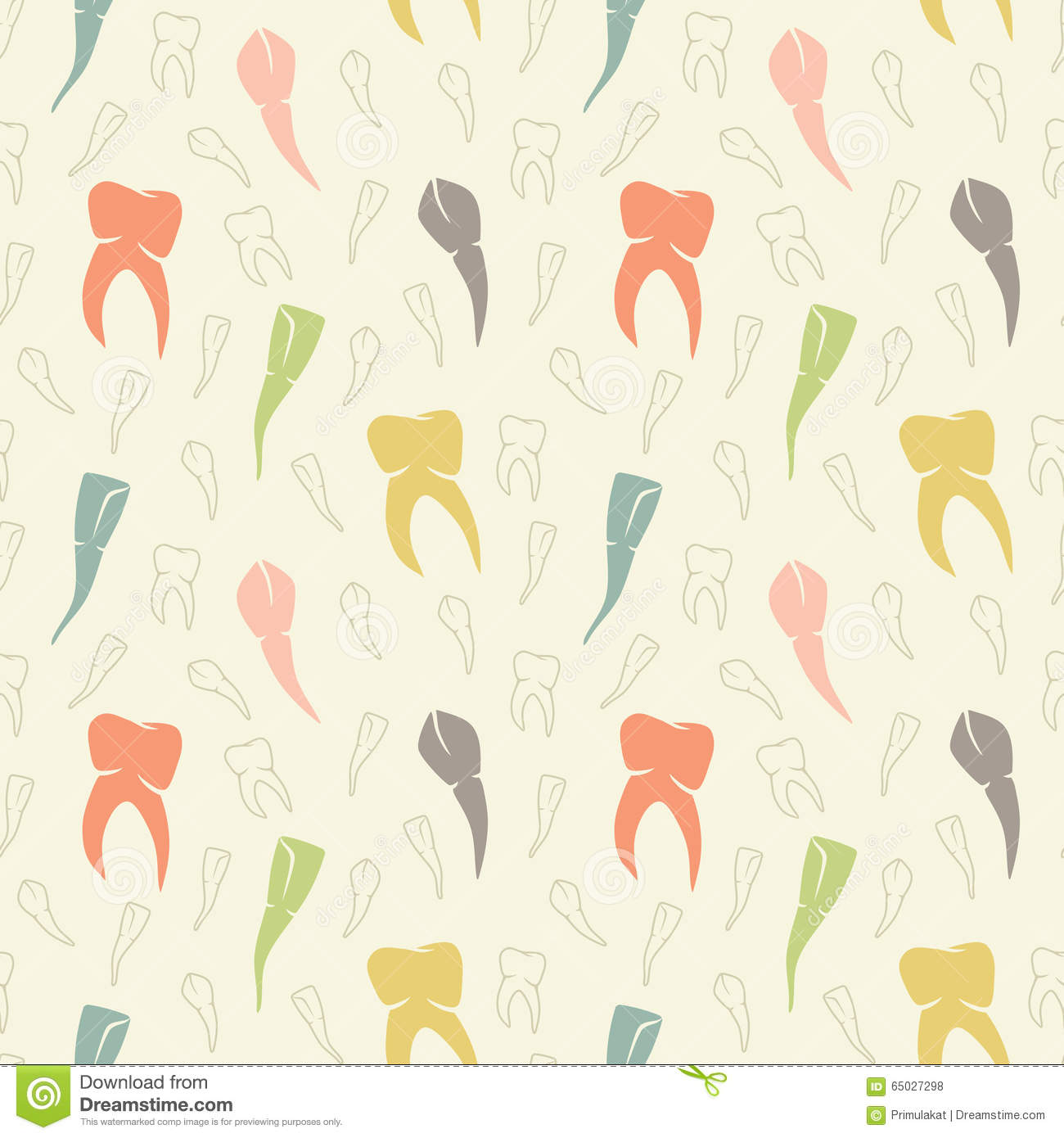 Cute Dental Wallpaper Vector Seamless Light Colorful Teeth Pattern Stock Vector