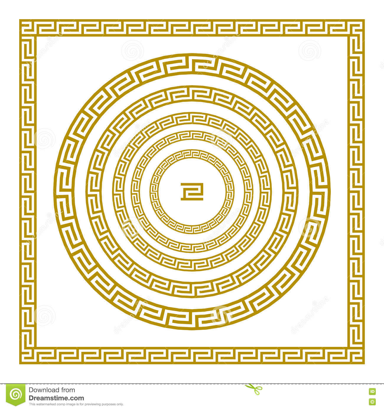 Griechische Muster Vector Set Traditional Vintage Golden Square And Round