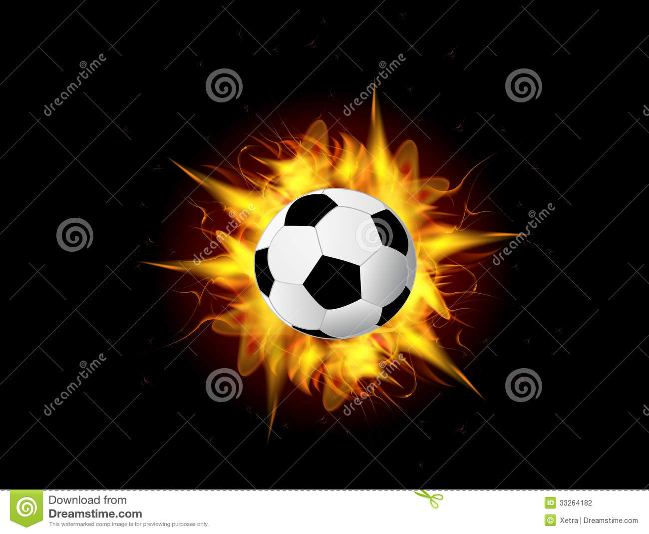 Animated Fireplace Wallpaper Vector Soccer Ball In Fire Flame Vector Illustration