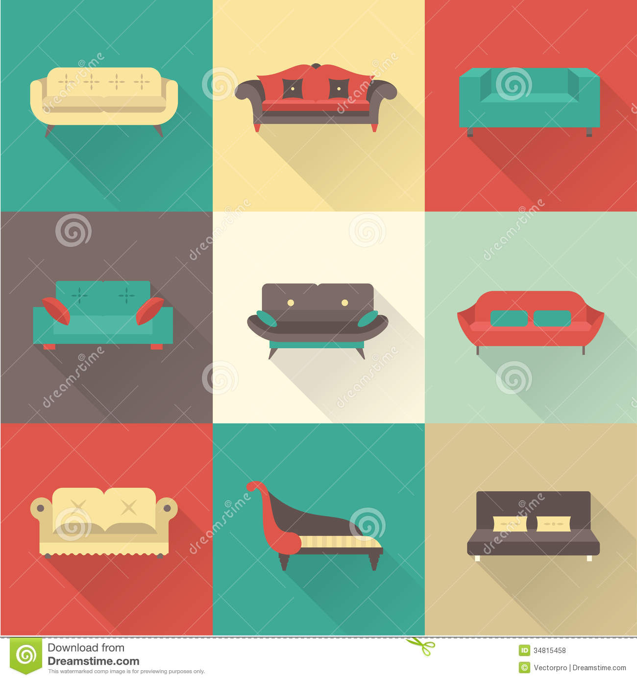Sofa Vector Free Vector Sofa Icons Stock Vector Illustration Of Background 34815458