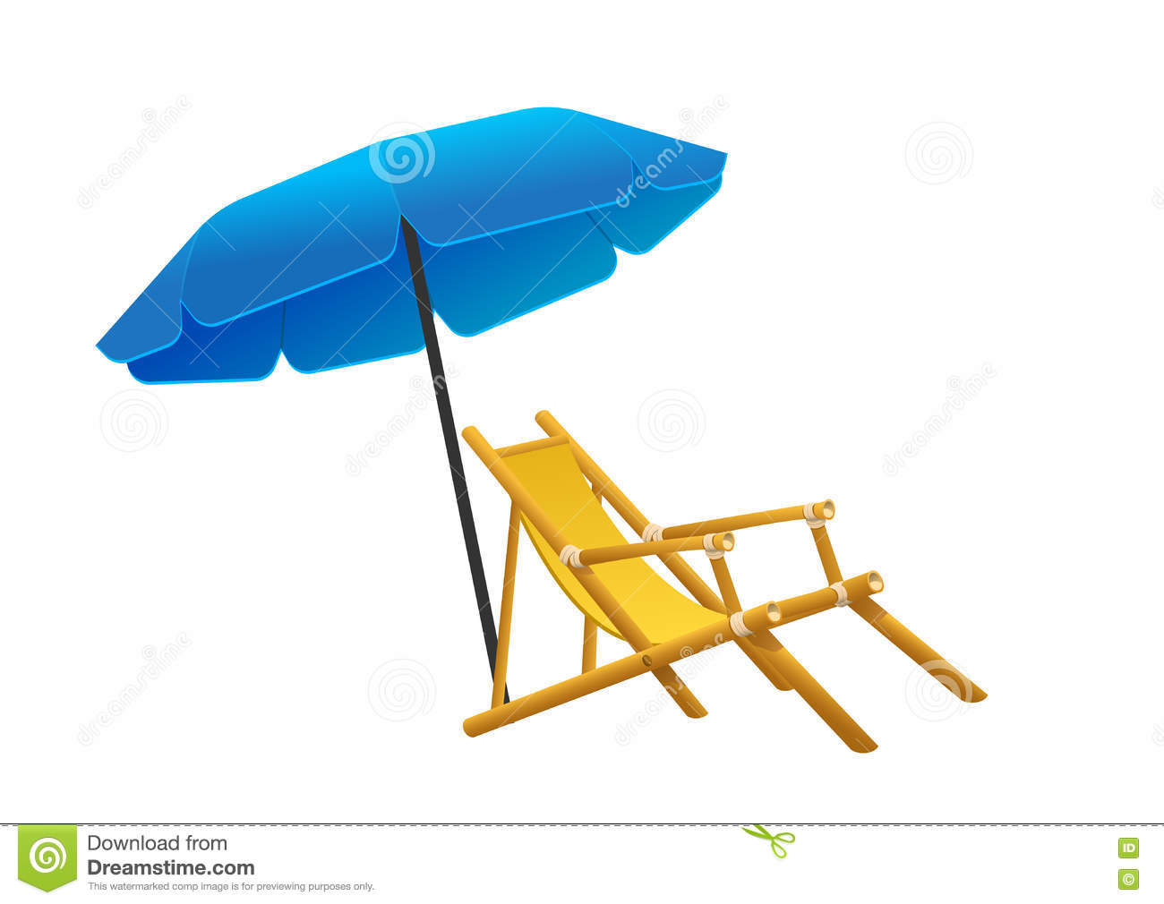 Vector sunbeds parasol depicted in the style of flat stock