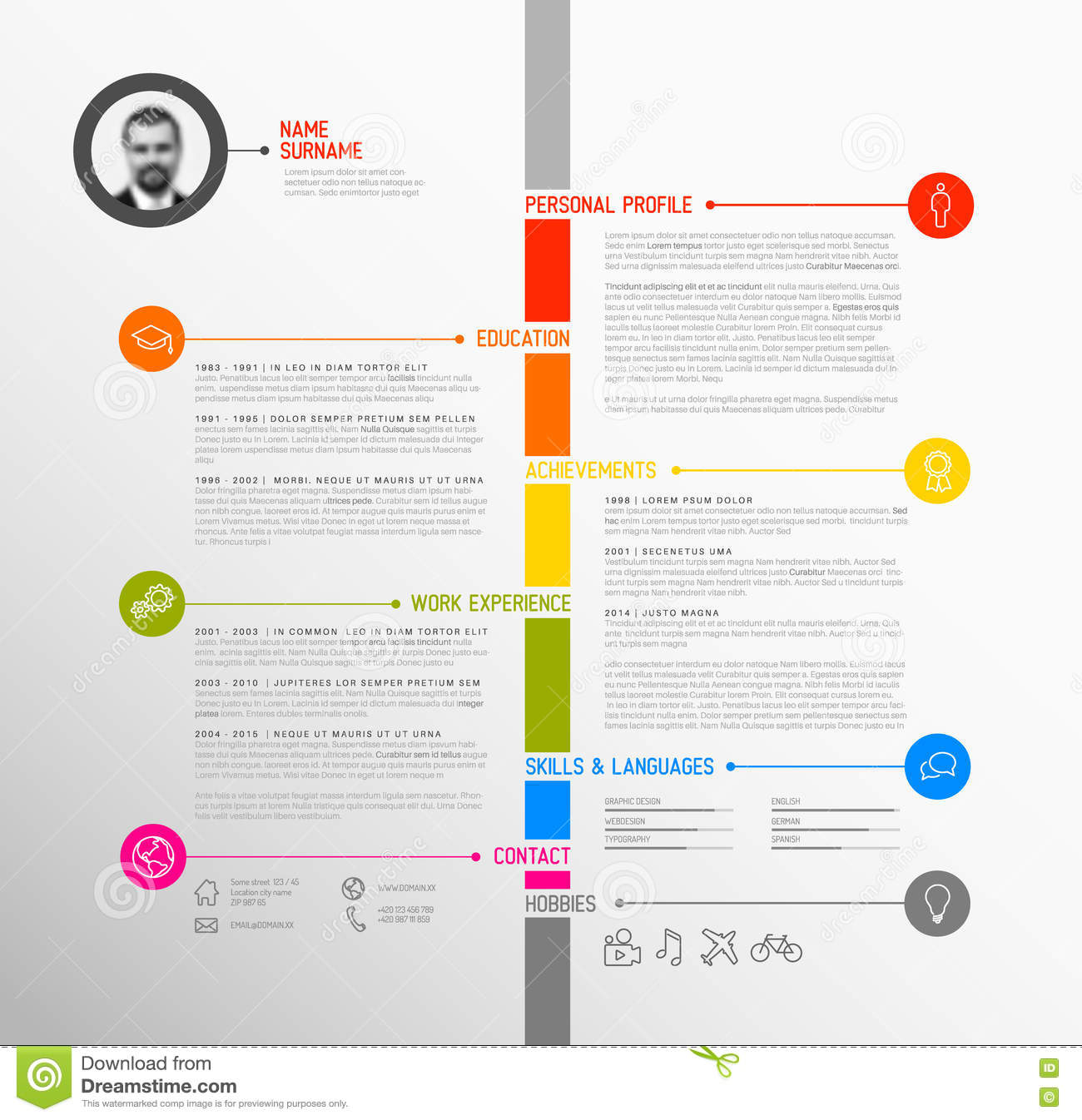 template cv chronologique