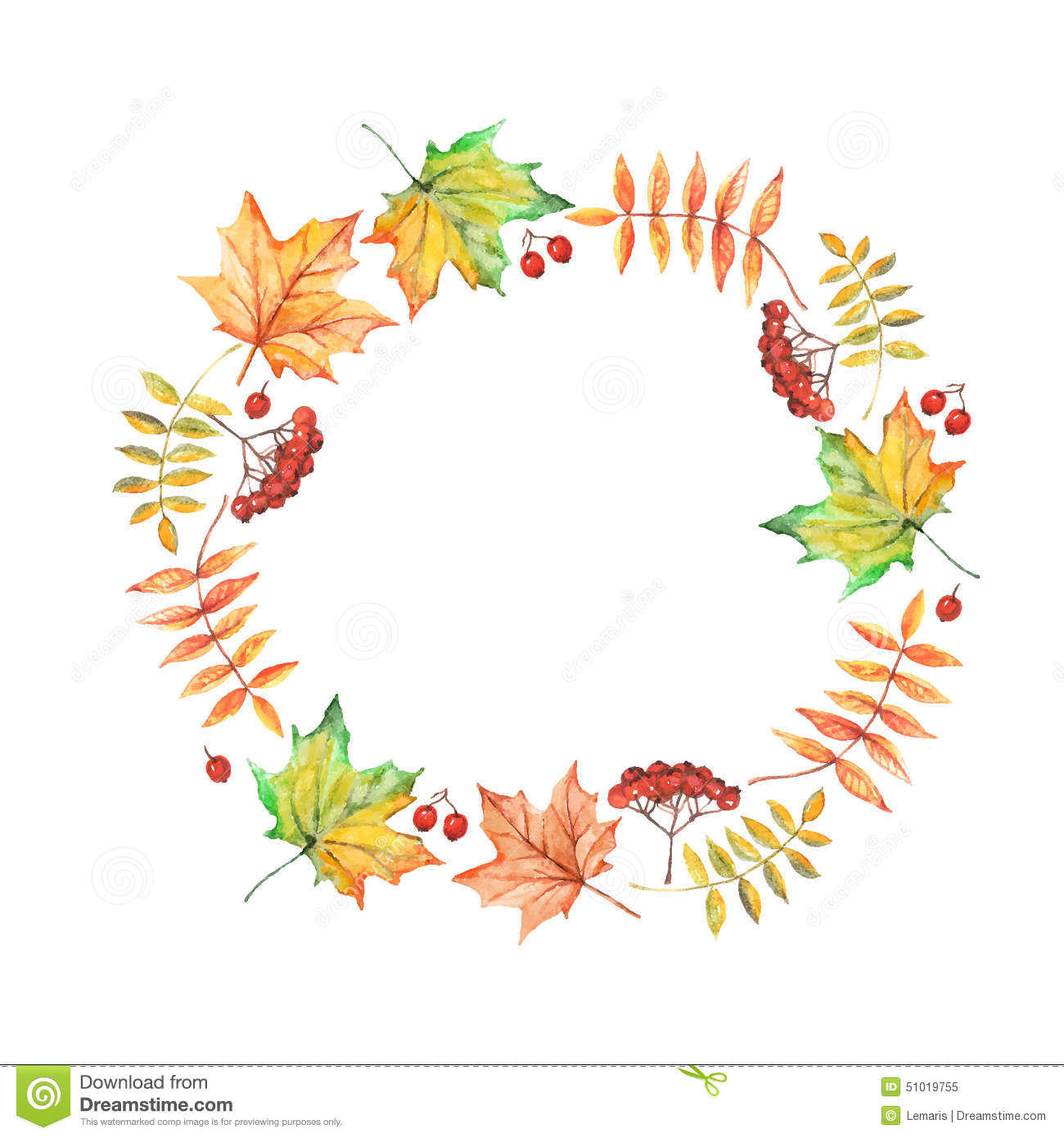 Fall Leaves Wallpaper Powerpoint Background Vector Watercolor Circle Frame With Autumn Leaves And