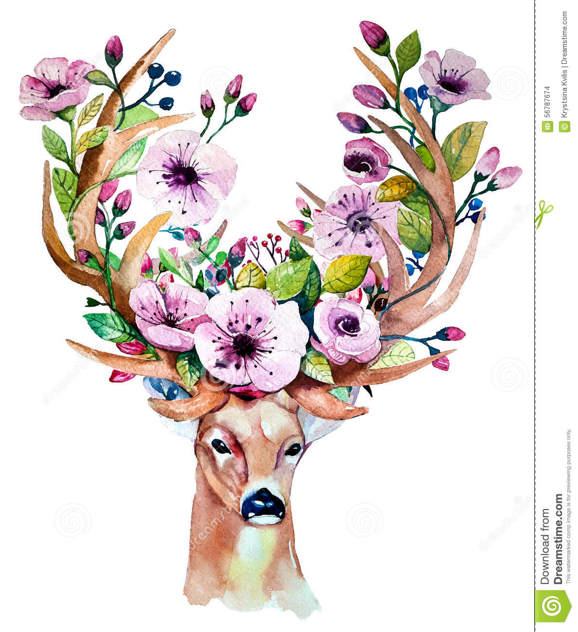 Stress Girl Wallpaper Vector Watercolor Hand Drawn Floral Set With Deer Stock