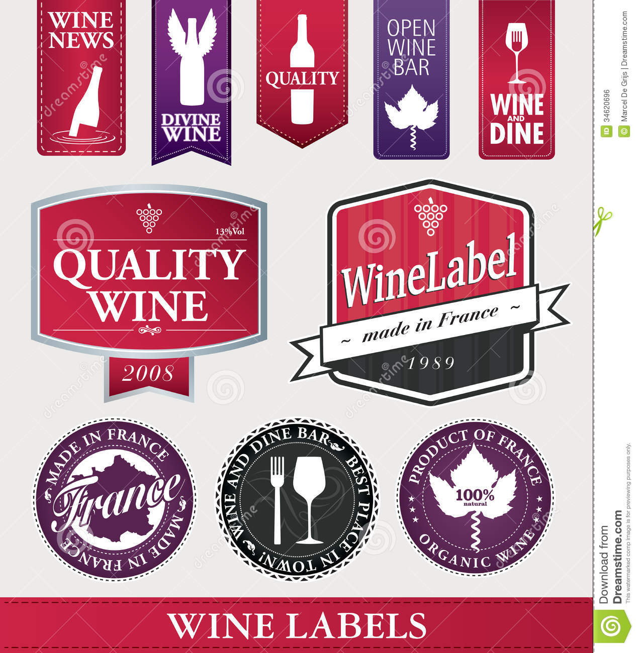 Decoration Restaurant Vintage Vector Wine Items And Labels Royalty Free Stock Image