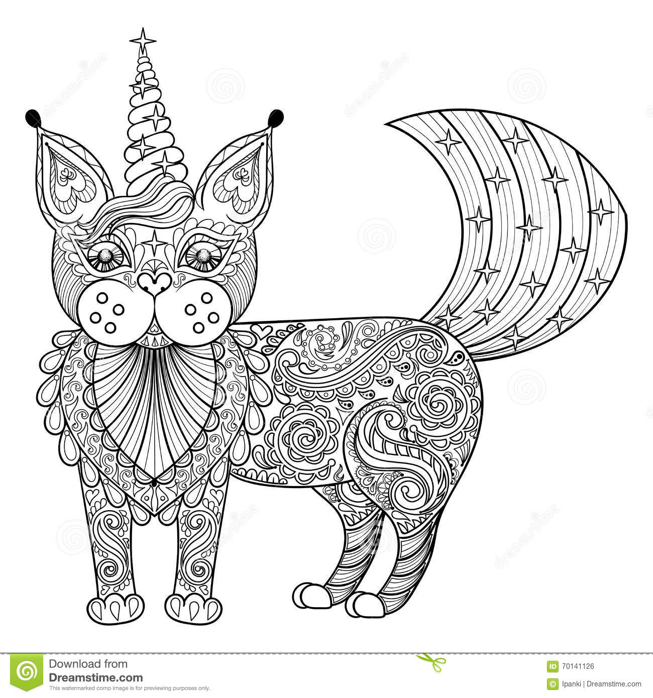 unicorn stock vector illustration of unicorn fantasy autovector zentangle magic cat unicorn black print for adult