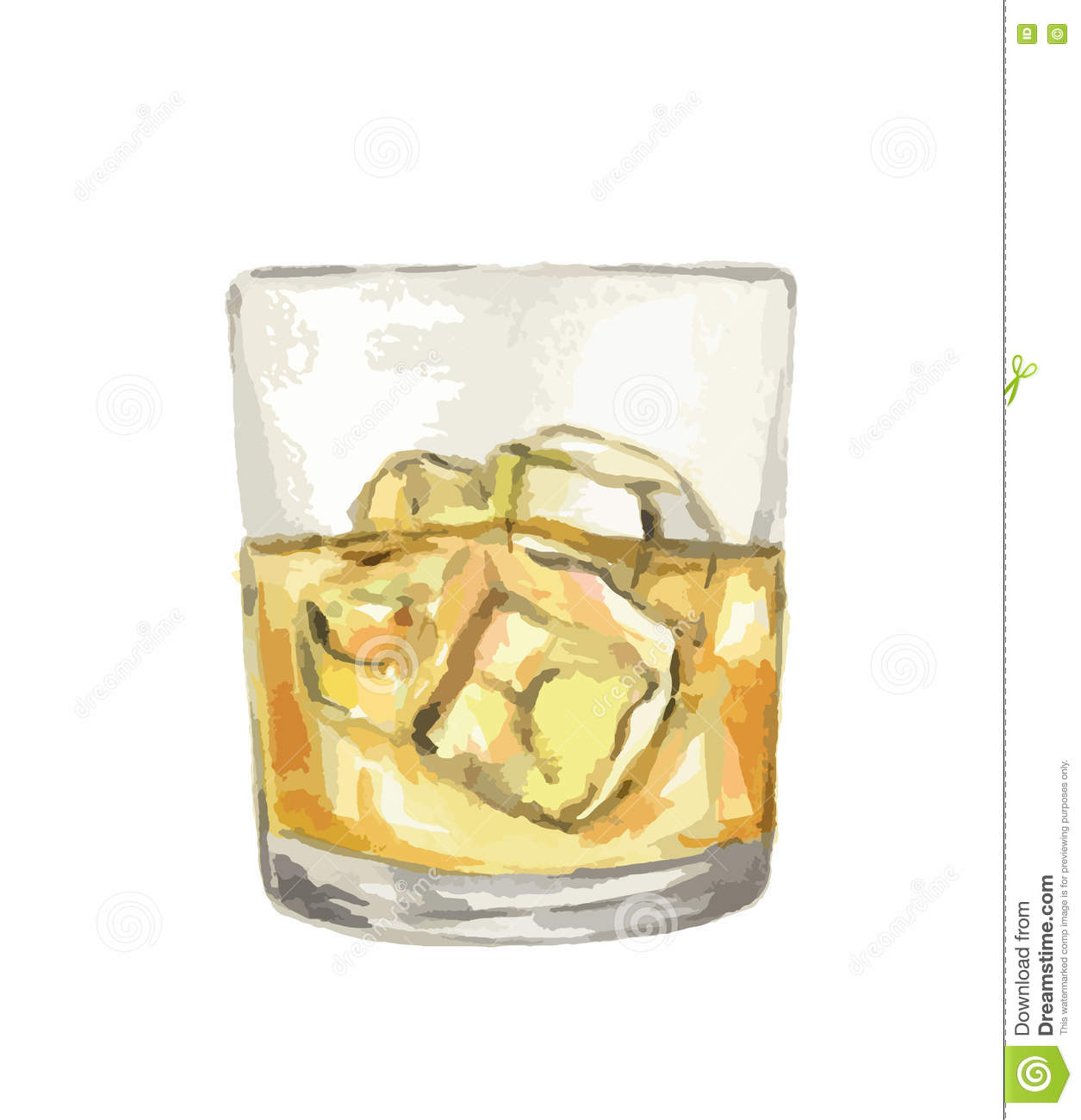Verre De Whisky Verre De Whiskey D Aquarelle Illustration De Vecteur