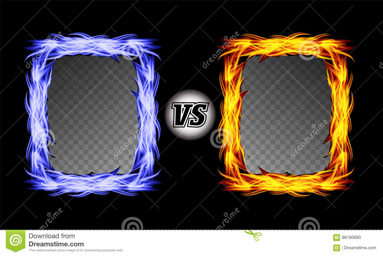 Versus vector symbol with fire frames vs letters flame fight background design competition