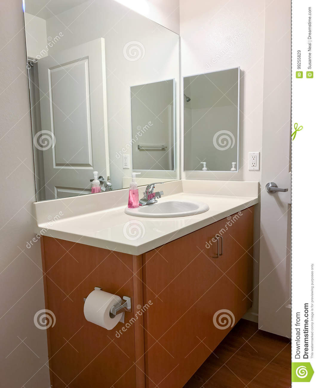 Bathroom With Mirrors Simple Bathroom Vanity With Mirrors And Sink Stock Image Image