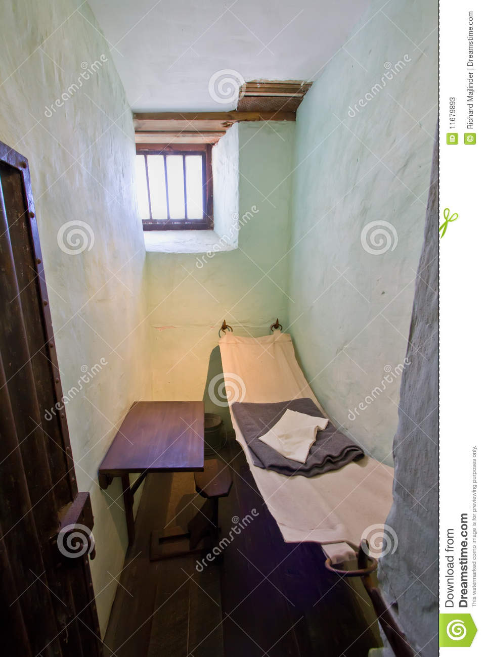 Small Stool Very Small Cell In An Old Prison Stock Image - Image Of