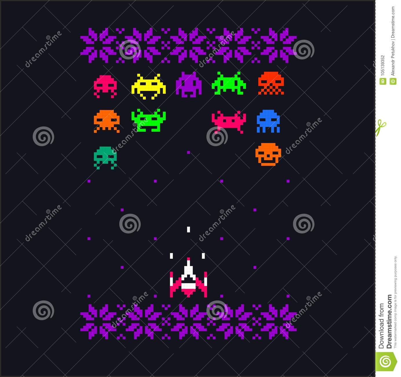 Vintage 8 Video Game 8 Bit Space Aliens Spaceship Pixel Art With
