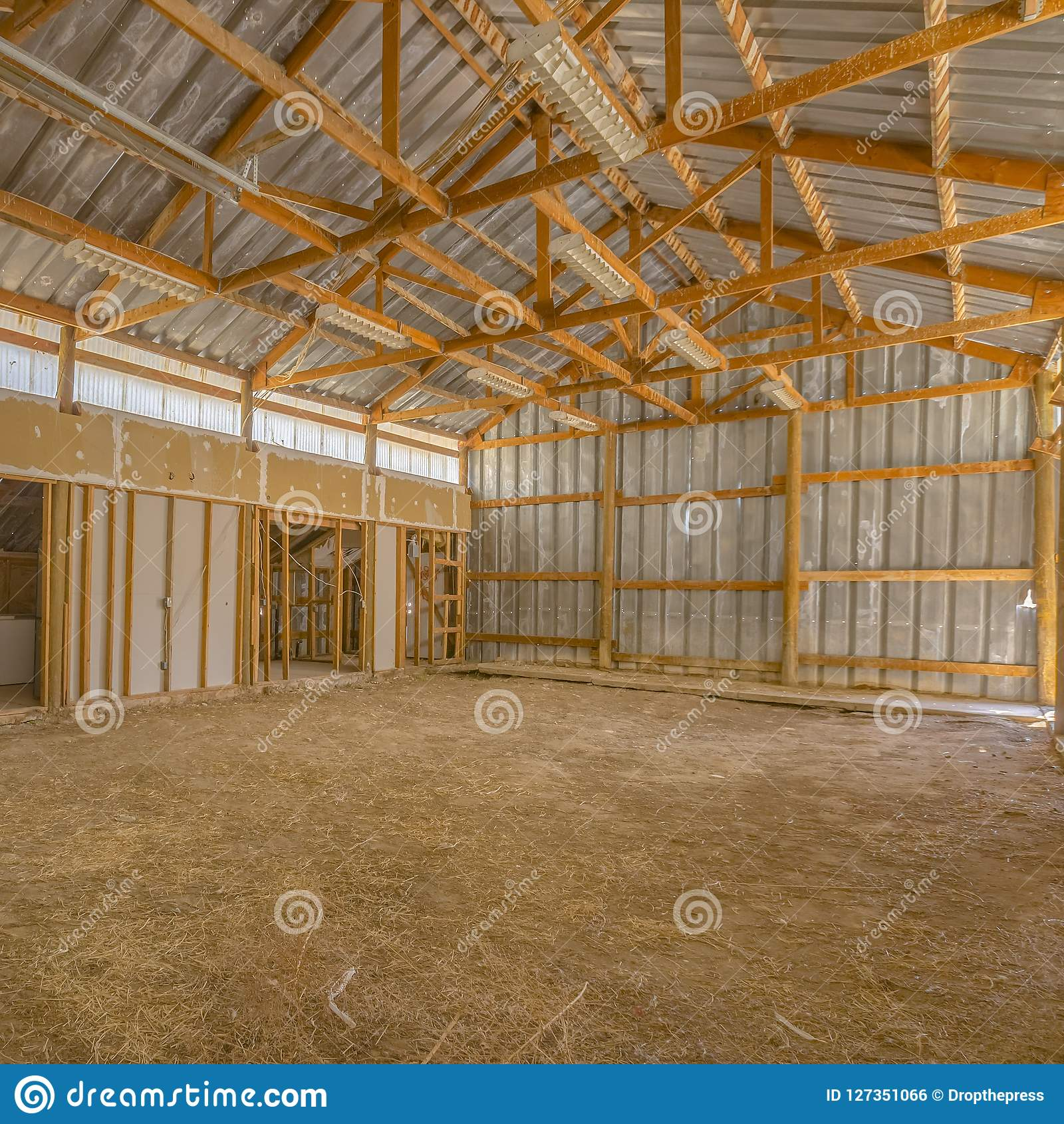 Barn Metal View Of A Barn Interior With Metal Roof And Wall Stock Photo