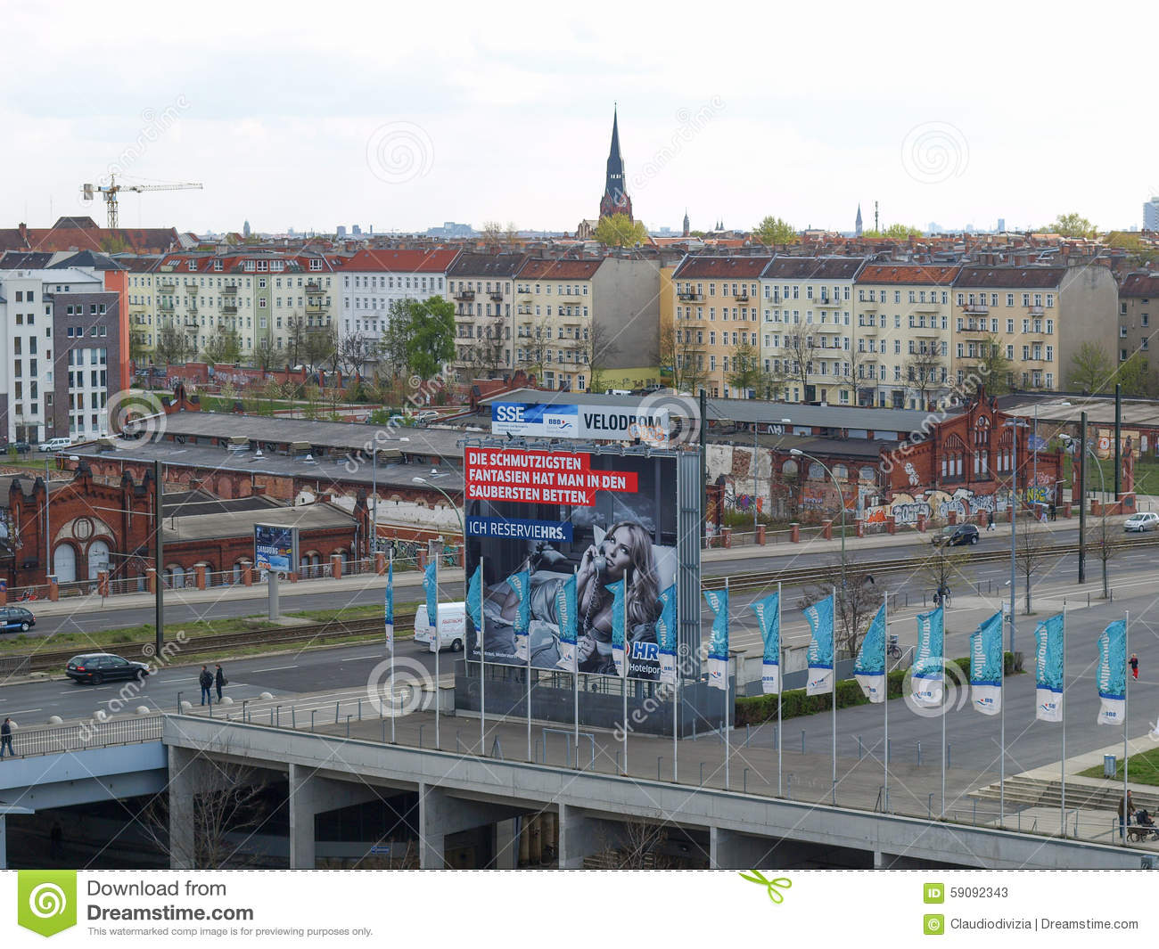 Holzbetten Berlin View Of Berlin With Ads Billboards Editorial Stock Photo Image