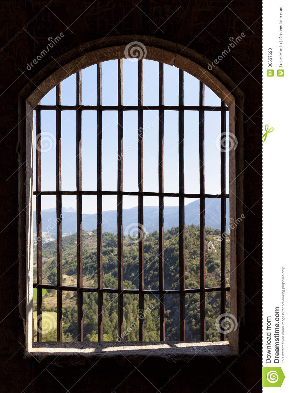 View From Prison Window Stock Photo