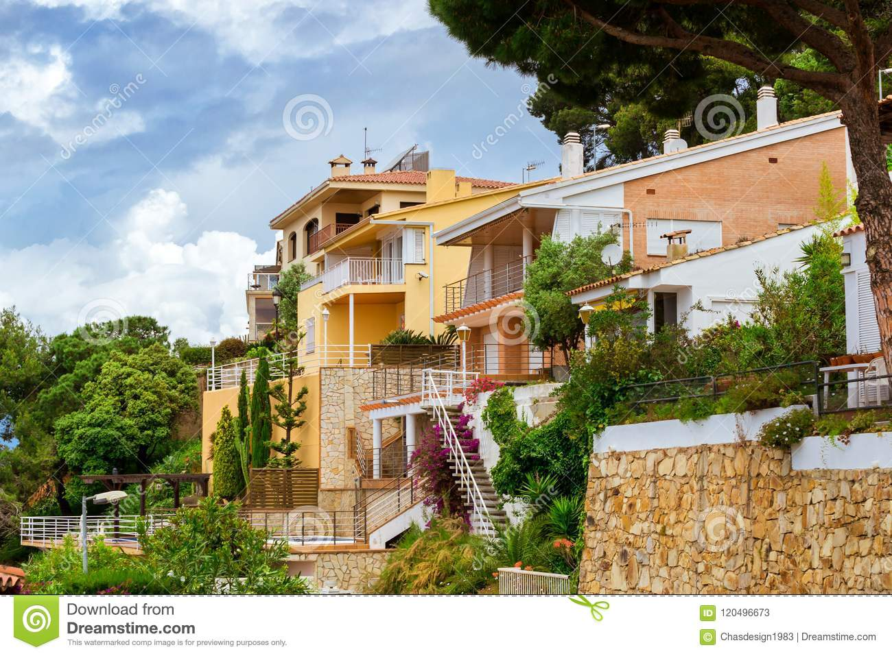 Villas In Spanish Resort Style Blanes Catalonia Stock Image Image Of Climb Plants 120496673