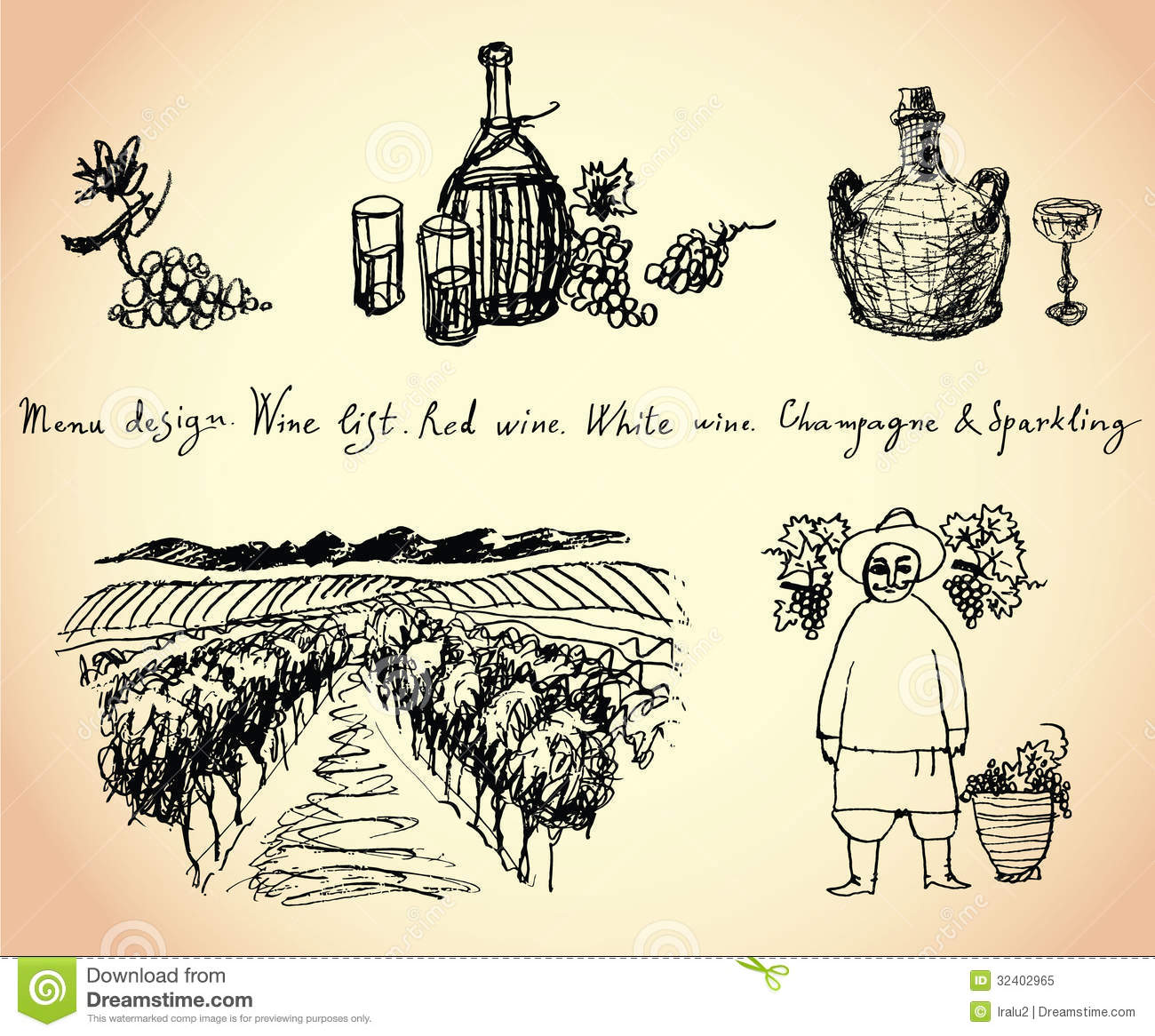 Red Farmhouse Drawing Vineyard Wine And Grape Illustration Stock Vector