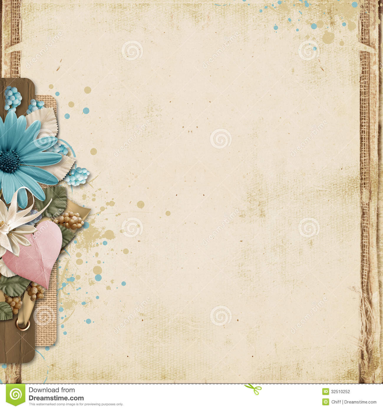 Baby Girl Wallpaper Borders Pink And Purple Vintage Background With Turquoise Flowers And Heart Stock