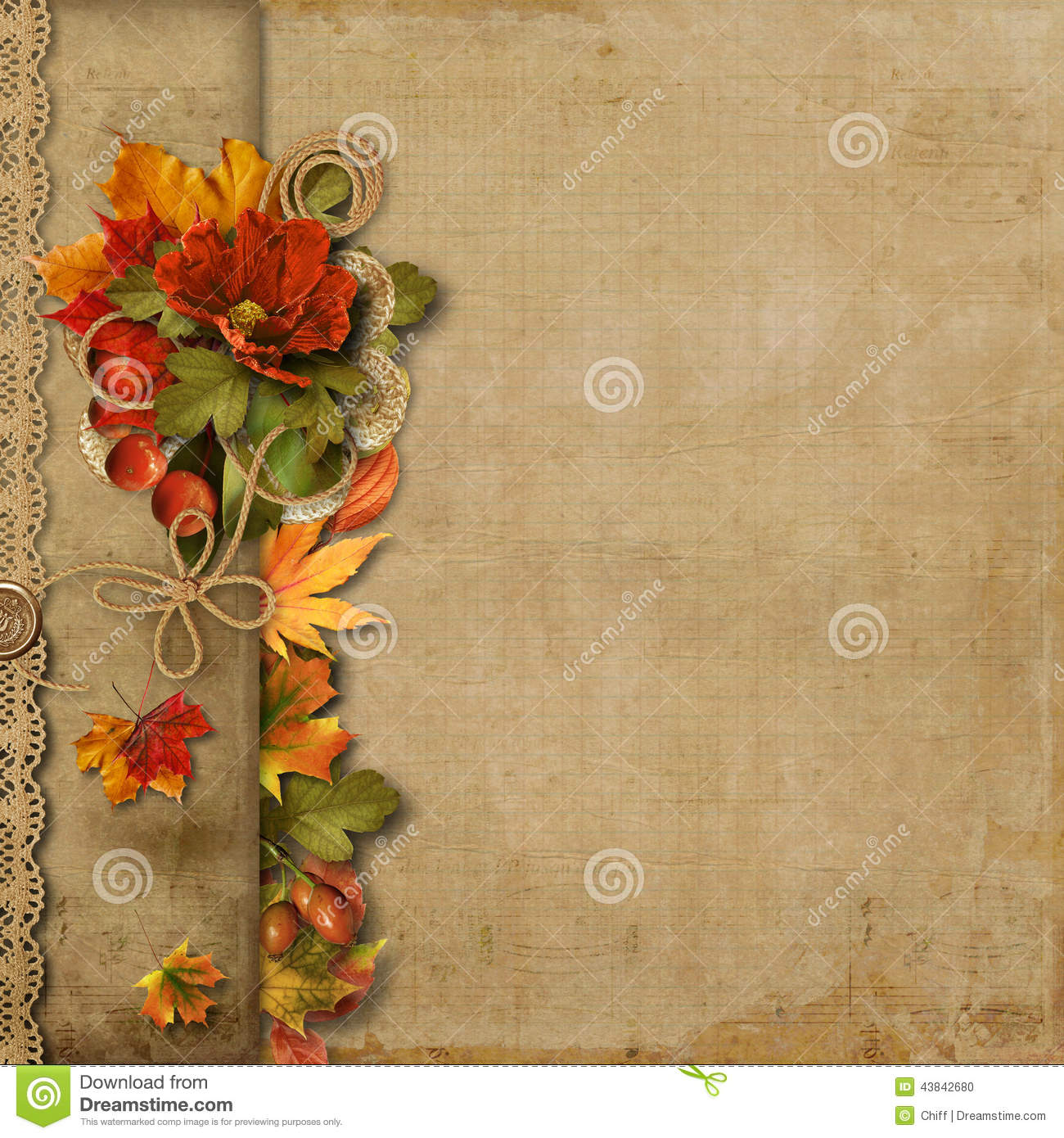 Fall Leaves Wallpaper Powerpoint Background Vintage Beautiful Background With Autumn Border Stock