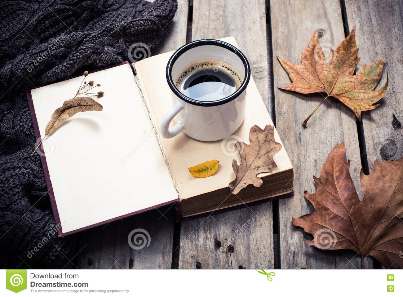 Seasonal Fall Coffee Desktop Wallpaper Vintage Book Knitted Sweater With Autumn Leaves And