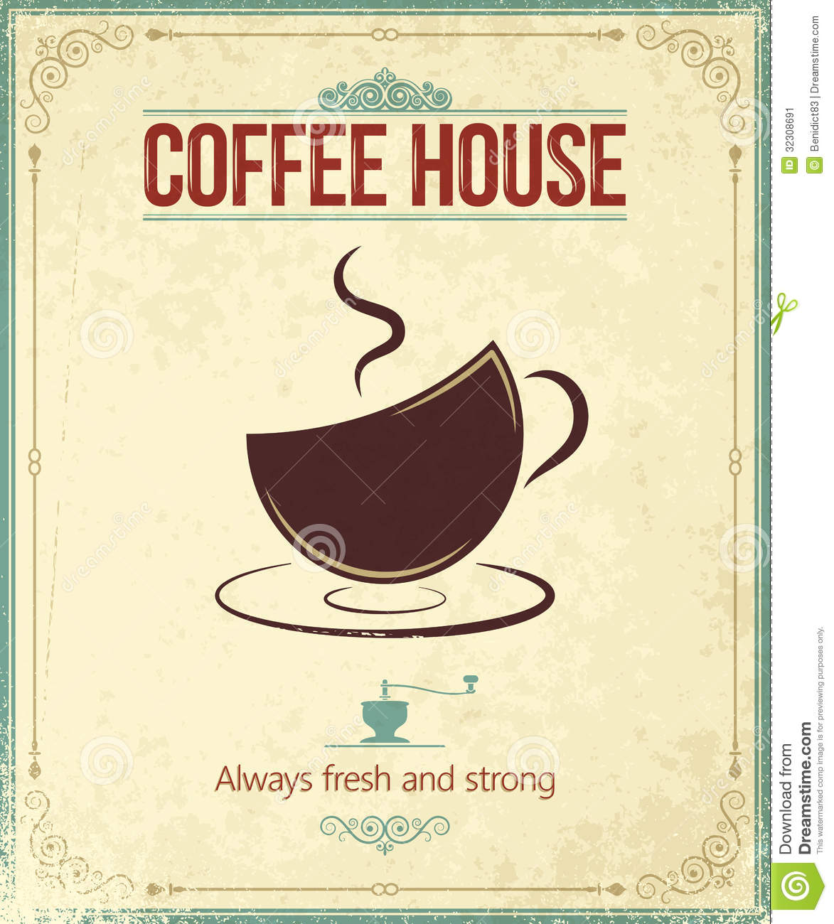 Poster Küche Retro Vintage Coffee Background Stock Image Image 32308691