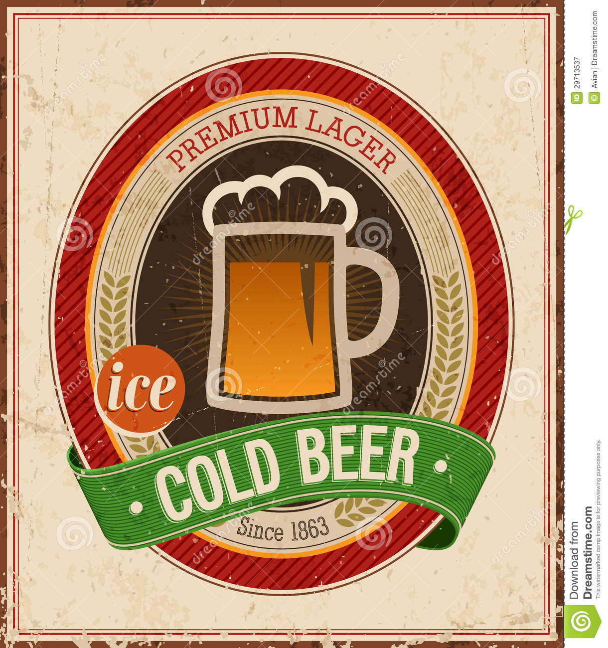 Vintage Brick Wallpaper 3d Vintage Cold Beer Poster Royalty Free Stock Photography