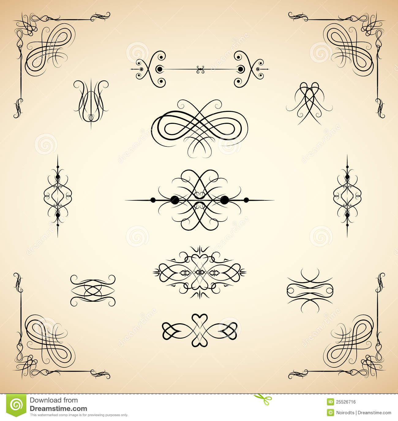Vintage Design Vintage Design Element Set Stock Vector Illustration Of