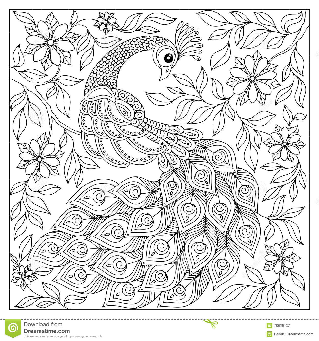 Cute Tribal Print Wallpaper Peacock Adult Antistress Coloring Page Black And White