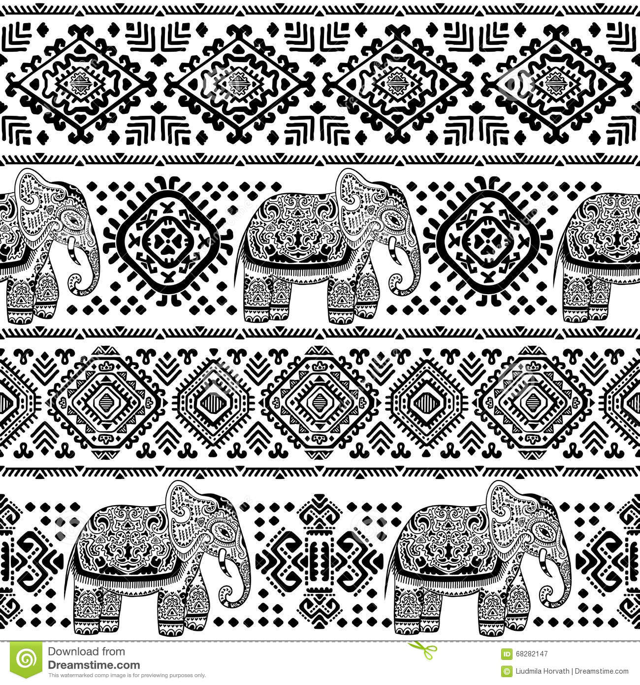 Aztec Print Wallpaper Hd Vintage Indian Elephant Seamless Pattern With Tribal