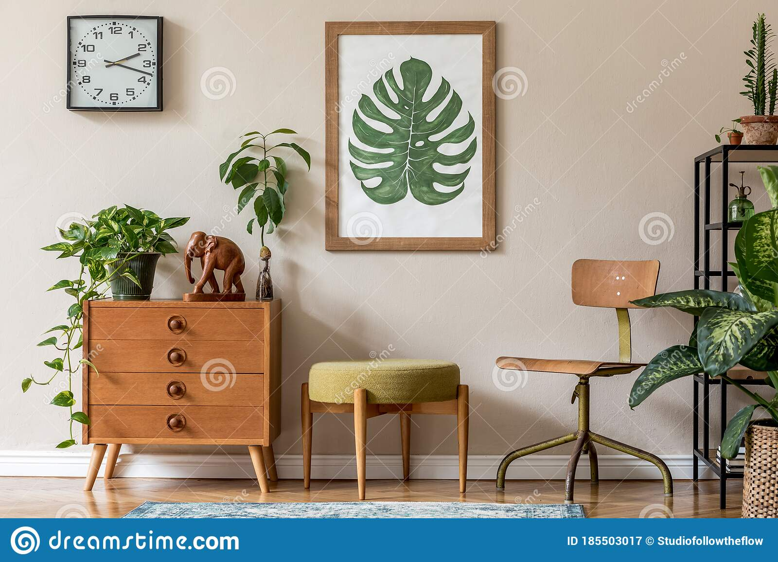 Stylish Living Room With Design Retro Furnitures And Plants Stock Image Image Of Desk Chair 185503017