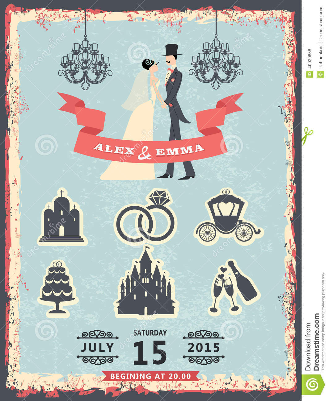 Invitation Card For Wedding App Vintage Invitation With Groom, Bride And Wedding Icons