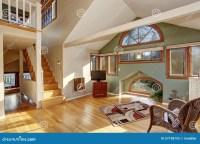 Vintage Loft Style Bedroom With Tv And Hardwood Floor ...