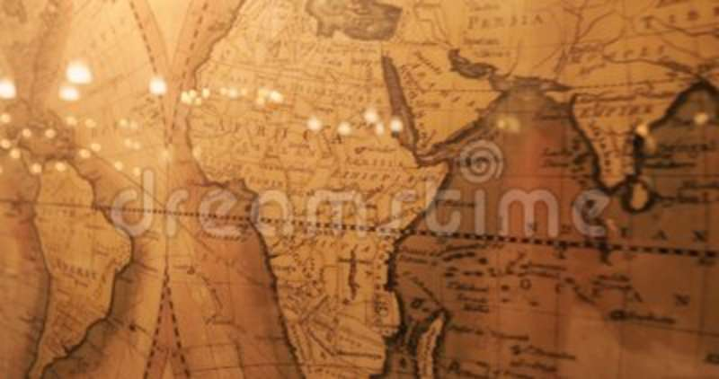 Vintage Map Of The World Old Paper Background With Earth Map Stock