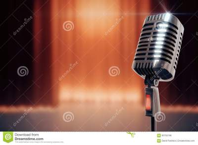 Vintage Microphone At Stage Background Stock Illustration - Illustration of announcement, copy ...