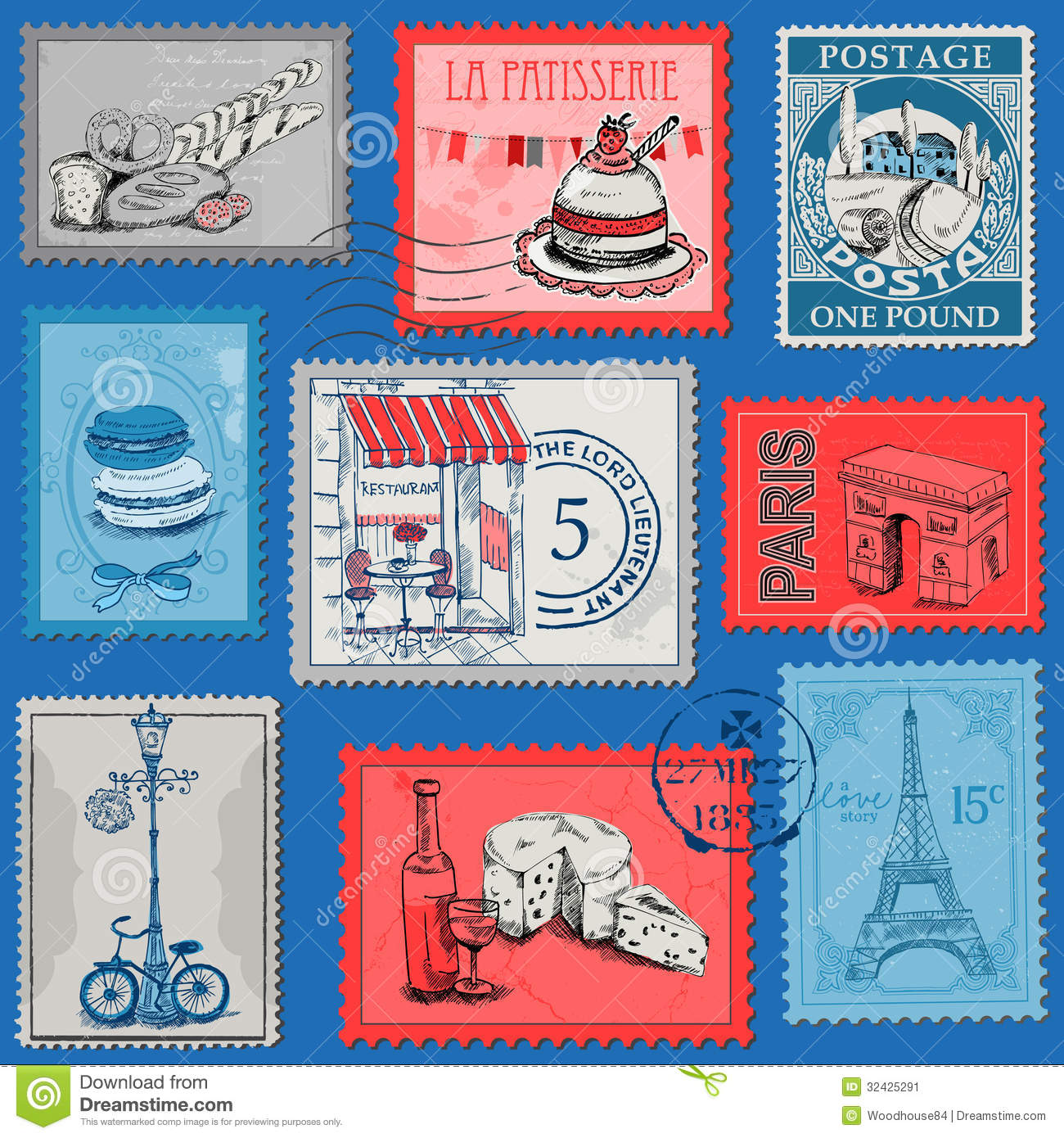 Design France Vintage Paris And France Stock Illustration Image Of