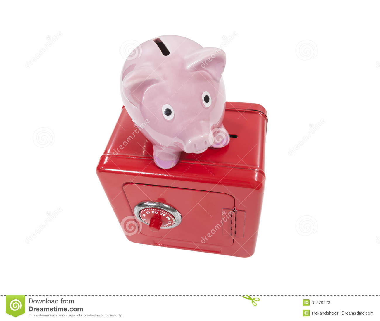Coin Piggy Bank Toy Vintage Piggy Coin Bank And Toy Safe Isolated Stock Photos