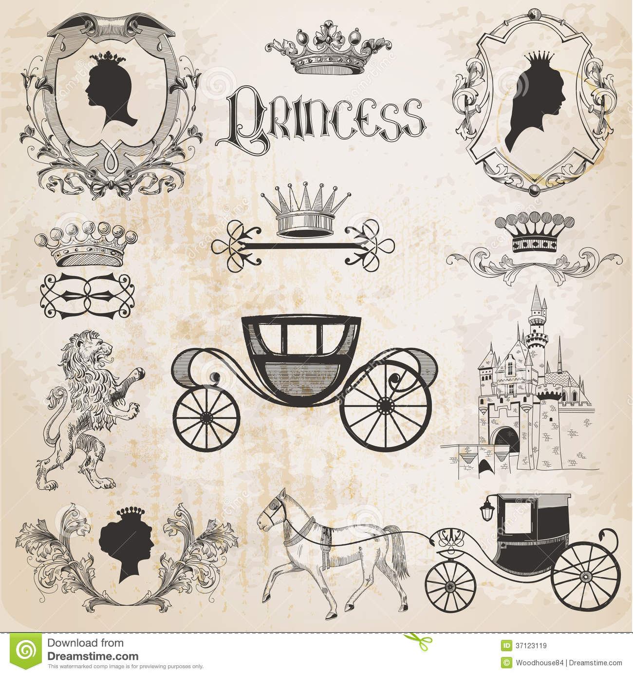Old Lady Wallpaper Cute Vintage Princess Girl Set Royalty Free Stock Images