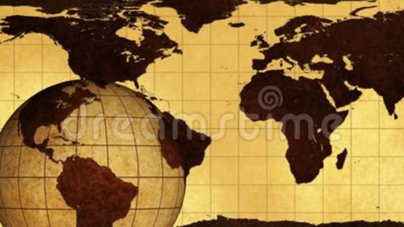 Vintage Rotating Globe And Map Of The World Stock Footage - Video of