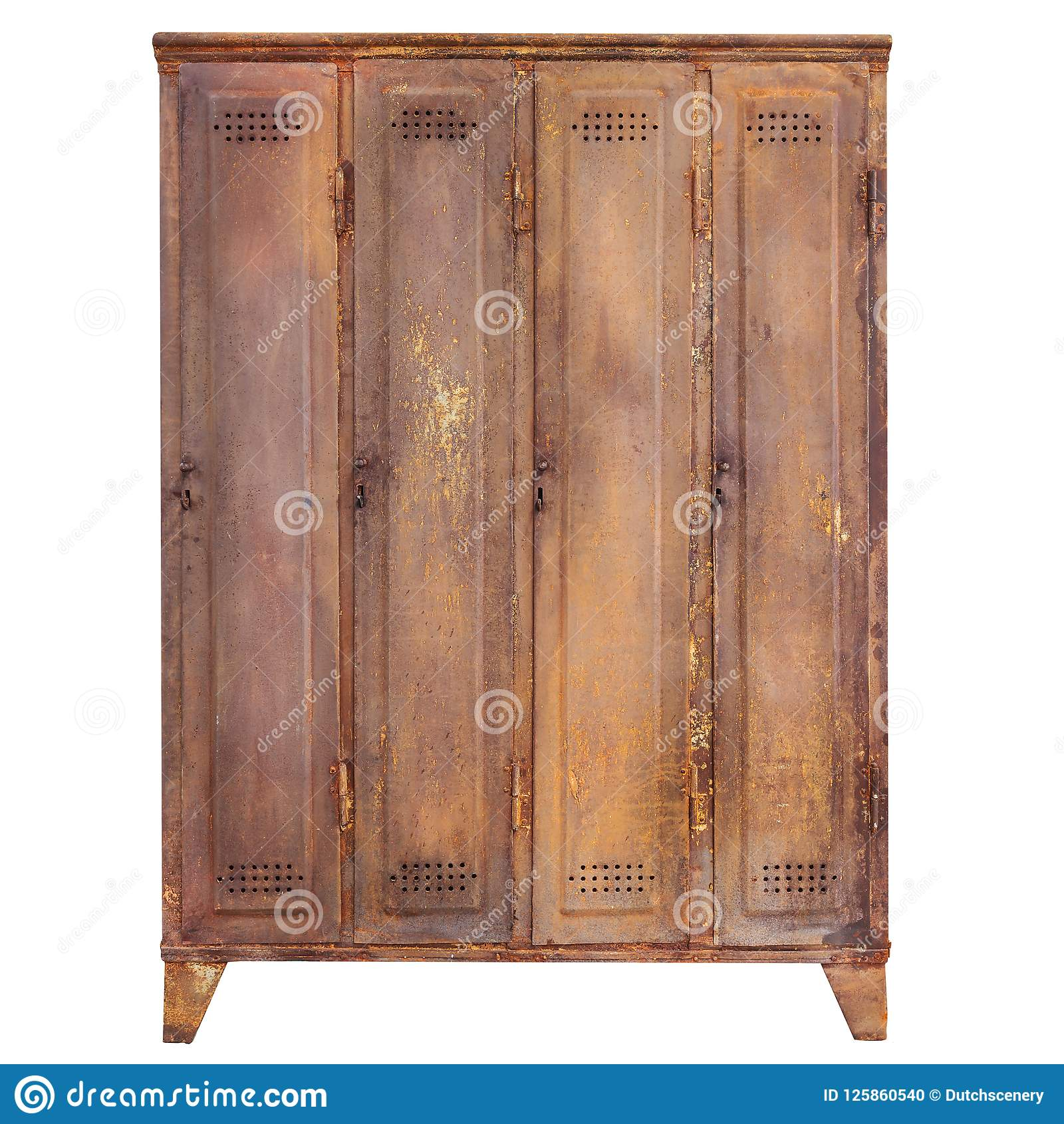 Vintage Rusted Locker Isolated On White Stock Photo Image Of Retro Factory 125860540