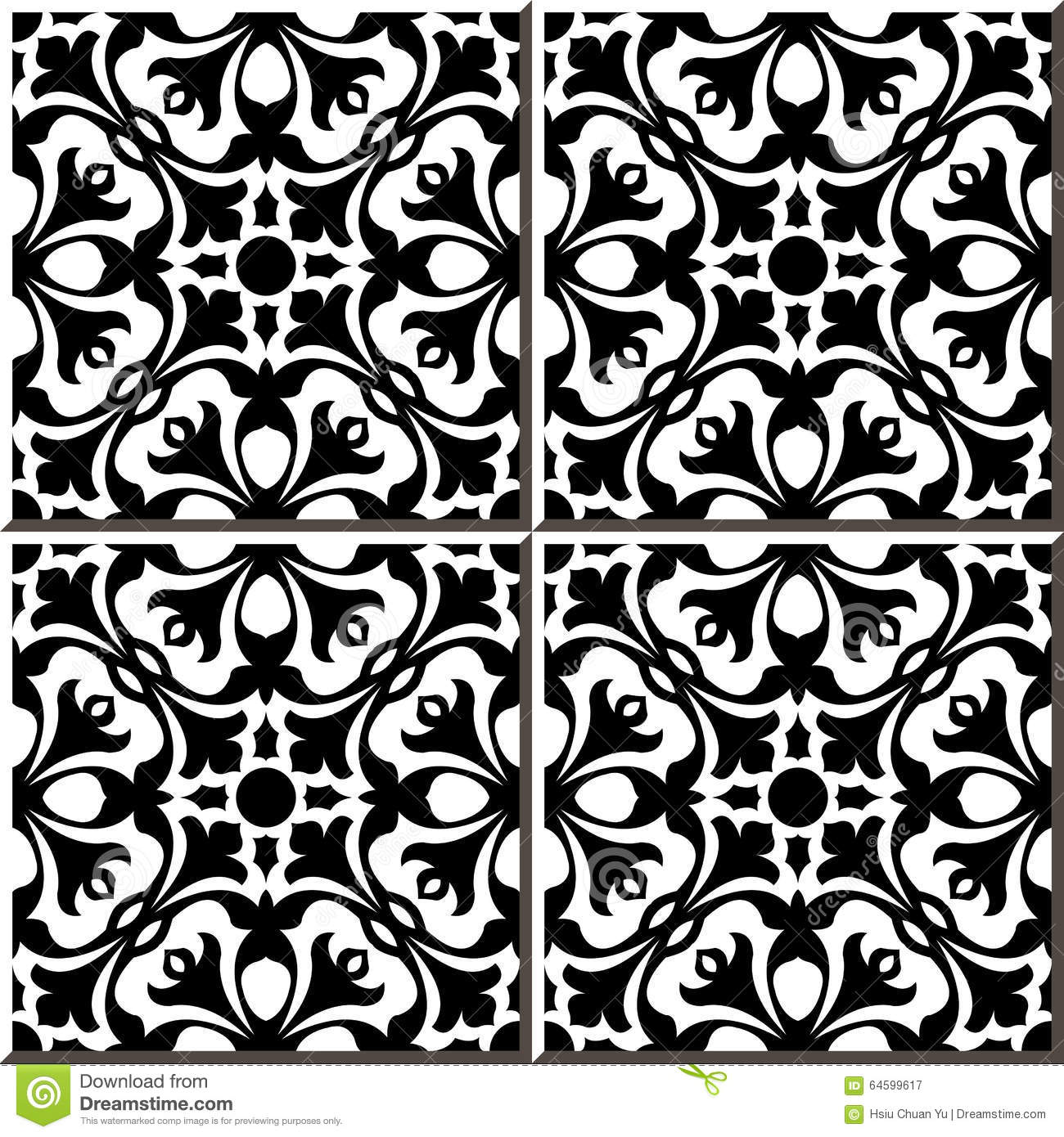Vintage Seamless Wall Tiles Of Black White Geometry Flower Moroccan Portuguese Illustration 64599617 Megapixl