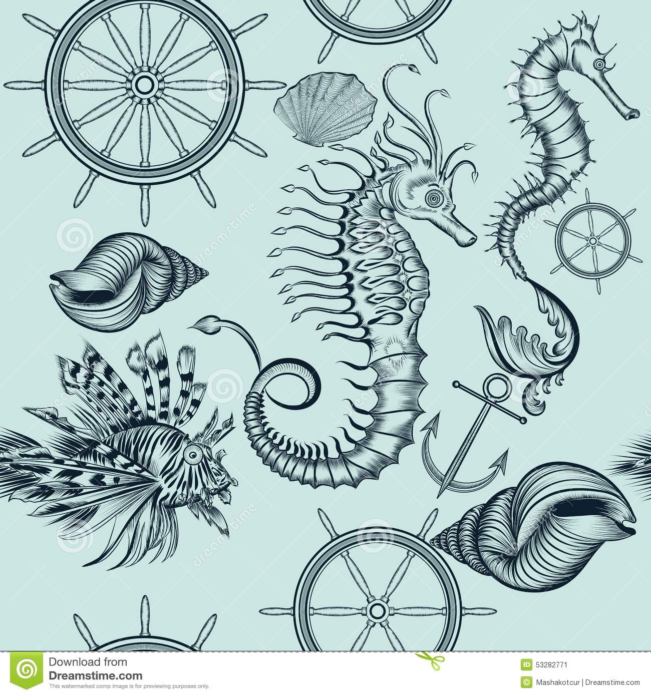 Cute Anchor Wallpapers Vintage Seamless Wallpaper Pattern With Sea Animals Stock