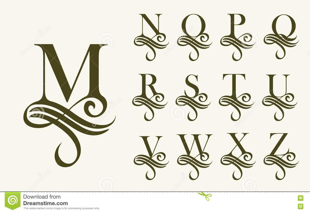 Calligraphy Fonts Victorian Vintage Set 2 Capital Letter For Monograms And Logos Beautiful