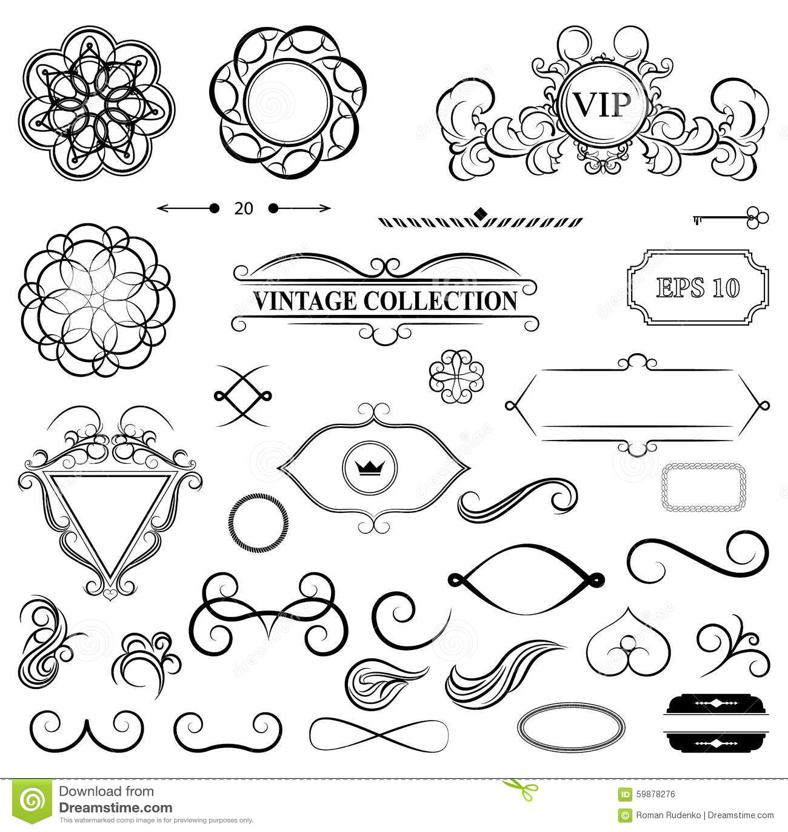 Vintage set decor elements for menu elegance old hand